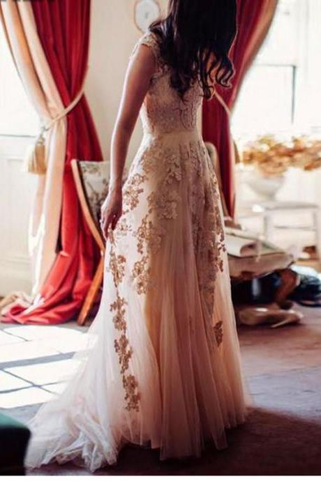 Champagne Lace Wedding Dress, Sexy V Neck Long Lace Bridal Gowns, A Line Floor Length Bridal Dress, Plus Size Lace Wedding Dress, Short Cap Sleeve Bridal Dresses, Cheap Champagne Wedding Gowns