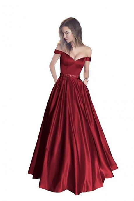 Sexy Burgundy Prom Dresses, Off Shoulder Prom Dress, Senior Prom Dress, A-line Prom Dress, Charming Prom Dress, Blush Pink Prom Dress
