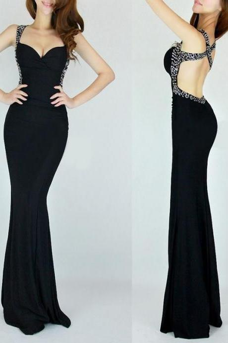 Sexy Backless Black Prom Dress,Mermaid Long Evening Dress,Beaded Prom Dresses Evening Gown Party Dress