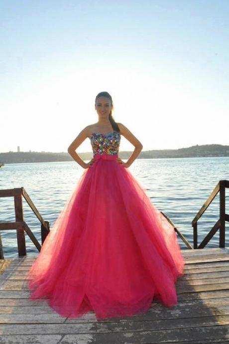 New Arrival Tulle Prom Dress,Ball Gown Prom Dresses,Long Evening Dress