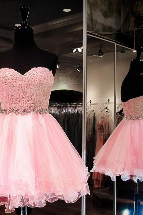 New Arrival Tulle Pink Homecoming Dress,Sweetheart Short Homecoming Dresses Prom Dress