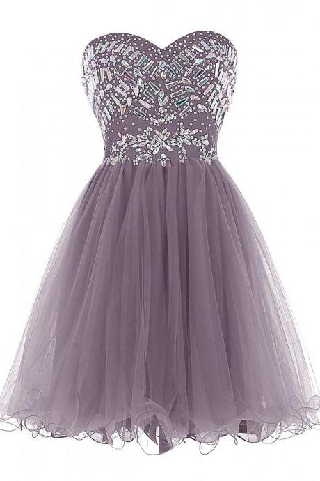 New Arrival Grey Tulle Homecoming Dress,Short Graduation Dress with Crystal,Pretty Party Dress