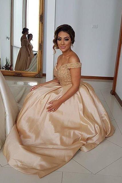 New Arrival Prom Dress,Modest Prom Dress,gold satin ball gowns prom dresses with lace beaded sweetheart Prom Dress