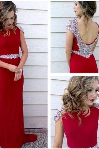 Beaded Embellished Cap Sleeves Red Crew Neck Floor Length Formal Dress Featuring Low Back, Prom Dress