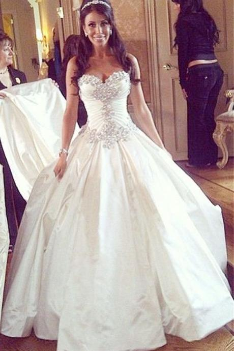 Noble Wedding Dress,Sweetheart Wedding Dresses ,Wedding Dress for Bride ,Wedding Dress with Long Train ,Bridal Gowns