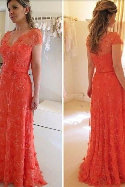 elegant lace prom dresses ,short sleeve lace prom dress ,women pageant gown ,formal dress,lace prom dress flower evening dress