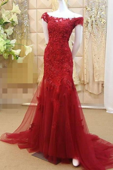 Bateau Applique Lace Mermaid Wedding Dresses, Formal Dress Long Prom Red Wedding Dress Evening Gown,Prom Dresses ,Modesr Evening Dresses,Beauty Party Dresses