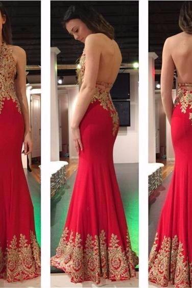 Sexy Backless Prom Dresses,Beading Appliques Prom Dress, V- neck Halter Prom Dress,Red Mermaid Prom Dress, Evening Gowns