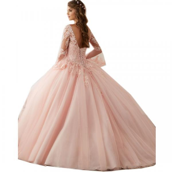 Dresses for 15 Years,Long Sleeves Sweet 16 Ball Gowns,Pink Lace Appliques Ball Gown Princess Quinceanera Dresses