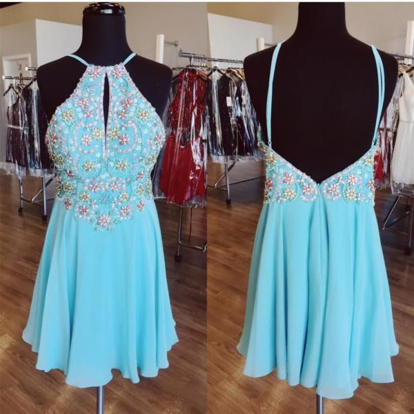 A Line Beaded Chiffon Prom Homecoming Dresses Short Homecoming Dress