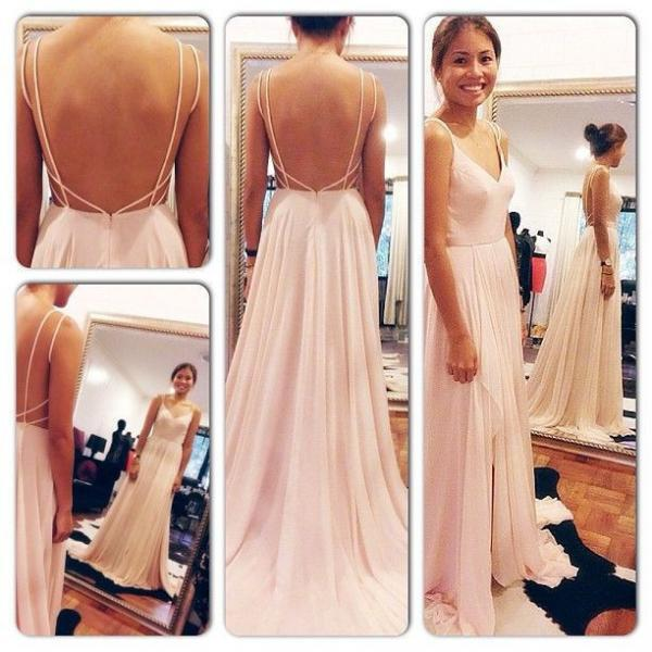 Prom Dress,Sexy Elegant Spaghetti Straps V Neck Pink Backless Prom Dress,Sexy Long Evening Dresses,Chiffon Floor Length Women Gown,Cheap Prom Dress,Formal Dress, Sexy Gril Dress, Floor-Length Prom Dresses, Evening Dresses, Custom Dress