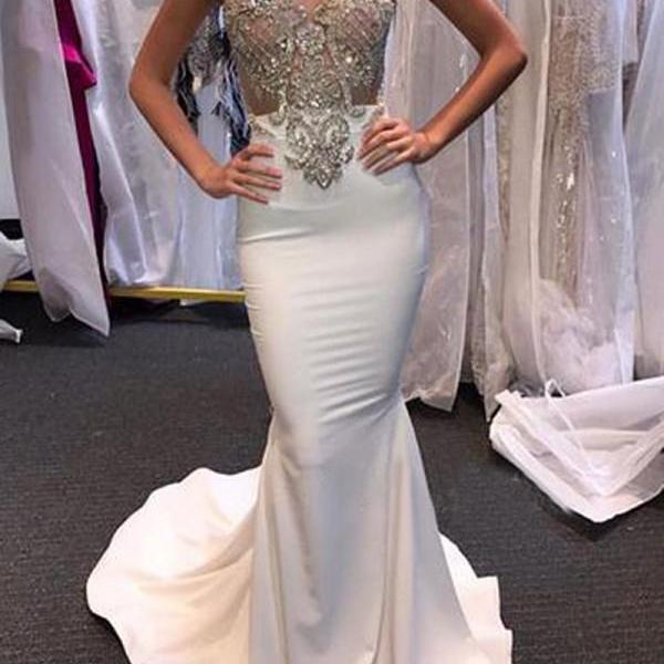 Sexy Mermaid Sweetheart Sleeveless Beading Sweep Train Prom Dress,Charming Prom Dresses,Sleeveless Formal Evening Dress,Formal Gown