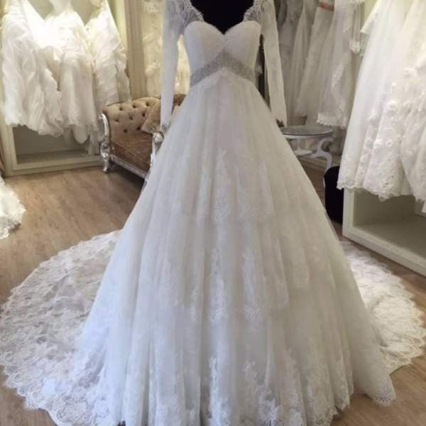 Wedding Dress,Customized Wedding Dresses,Tulle Bridal Dresses, Real Photos Long Sleeve V Neck Wedding Dress Backless vestido de noiva Chapel Train Crystal Beading long robe de mariage