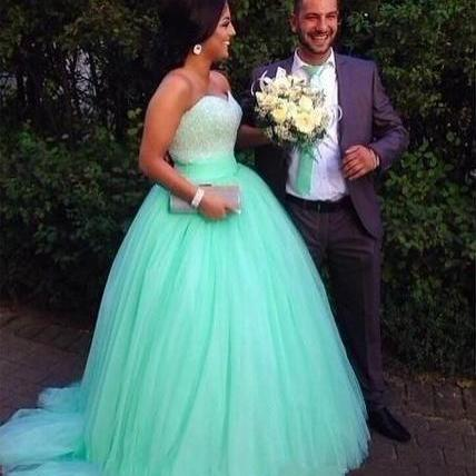 Ball Gown Prom Dress,Tulle Beaded Prom Dresses,Long Evening Dress,Formal Evening Gown