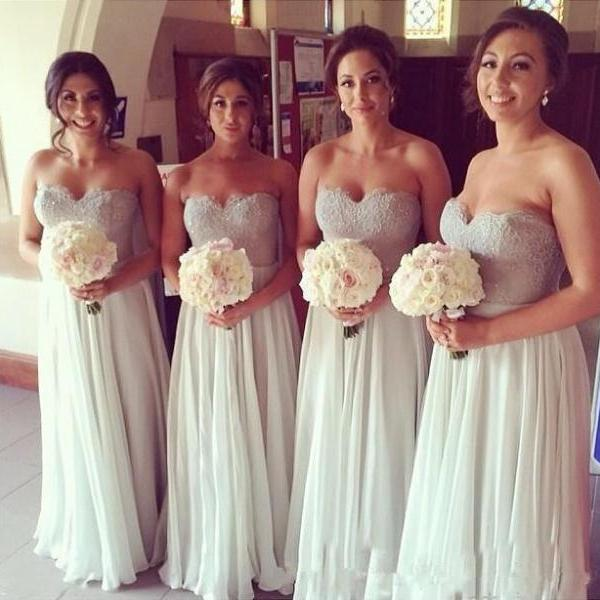 New Arrival Elegant Simple A Line lace Bridesmaid Dresses, Sweetheart Bridal Fomal Dress
