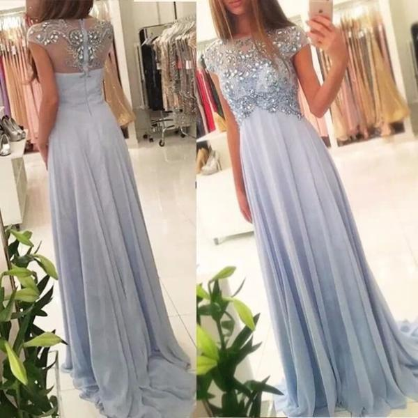 New Arrival Beaded Scoop Prom Dress, Formal Evening Gowns Handmade Stones Long Party Dress Evening Dress