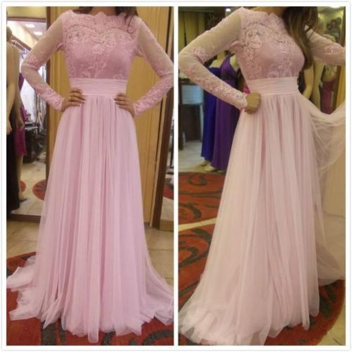 Long Sleeve Lace Prom Dress,Pageant Prom Dresses Pink Evening Gowns Formal Dress Long Party Gown For Women